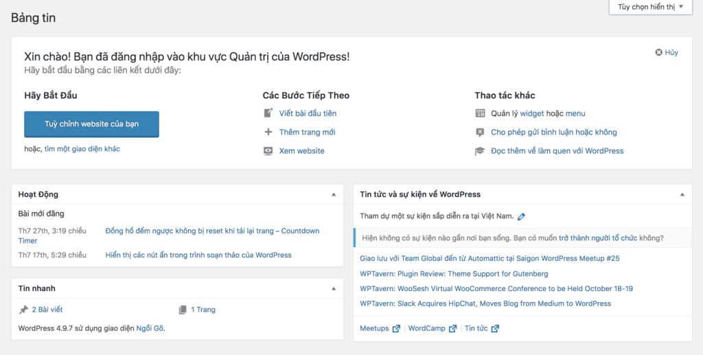 Widget bảng tin WordPress